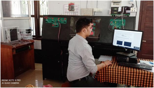 Ecosense's Engineer testing Microgrid system at GCE,Kannur